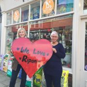 The Pet Shop Ripon ladies modelling the We Love Ripon heart