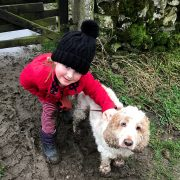 Harriet and Dexter enjoying muddy dog walking